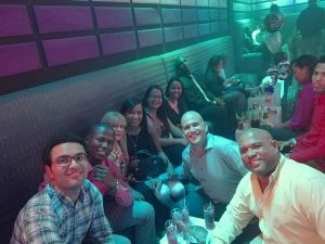 Abdel with friends from UNIBE having fun at a bar